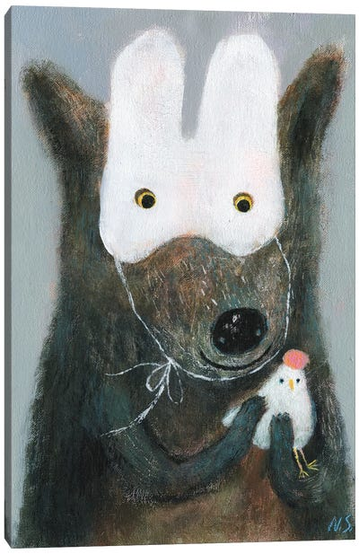 The Wolf In White Mask Holding The Hen Canvas Art Print