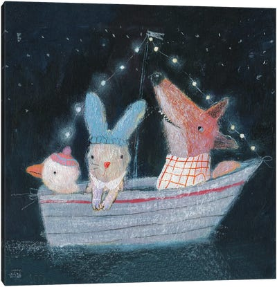 Three In The Boat Canvas Art Print