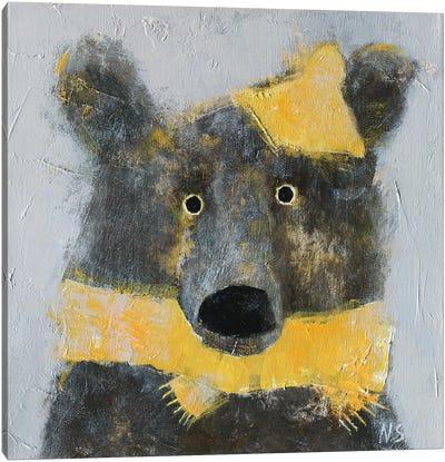 Winter Bear Wearing The Hat Canvas Art Print