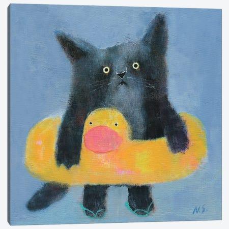 Black Cat With Bath Tube Canvas Print #NSL5} by Natalia Shaloshvili Canvas Artwork