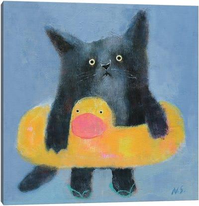 Black Cat With Bath Tube Canvas Art Print