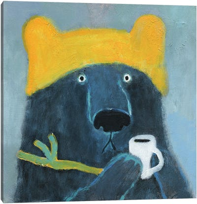 Blue Bear In The Yellow Hat Canvas Art Print