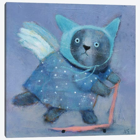 Blue Cat In The Hat On Scooter Canvas Print #NSL7} by Natalia Shaloshvili Canvas Art