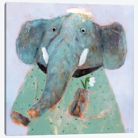 Blue Elephant And The Flower Canvas Print #NSL8} by Natalia Shaloshvili Canvas Art Print