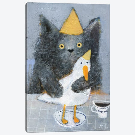 Cat And Duck On The Plate Canvas Print #NSL9} by Natalia Shaloshvili Canvas Art Print