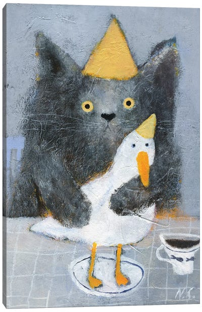 Cat And Duck On The Plate Canvas Art Print