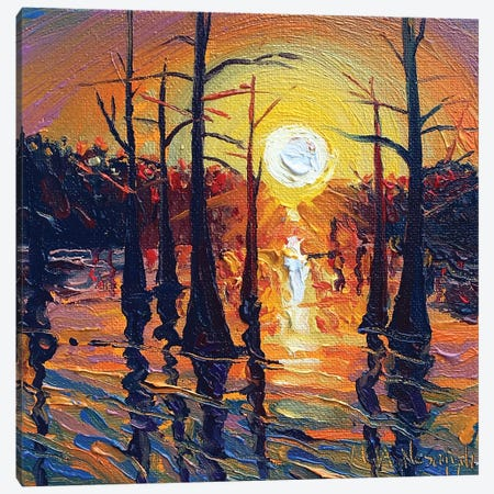 Fire On The Bayou Canvas Print #NSM9} by Mark Nesmith Canvas Art