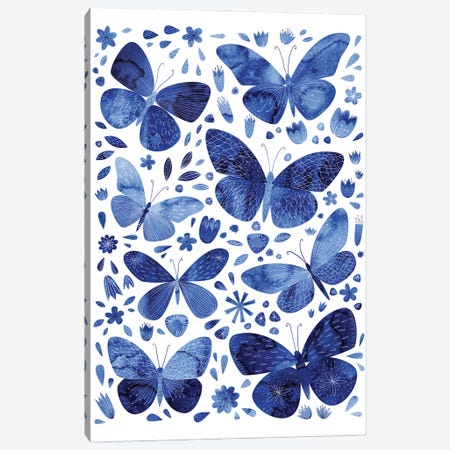 Blue Butterflies Canvas Print #NSQ10} by Nic Squirrell Canvas Art Print