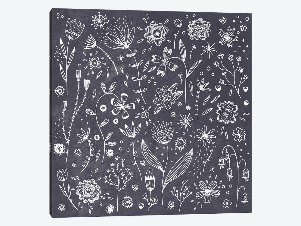 Chalkboard Flowers by Nic Squirrell 1-piece Canvas Art Print