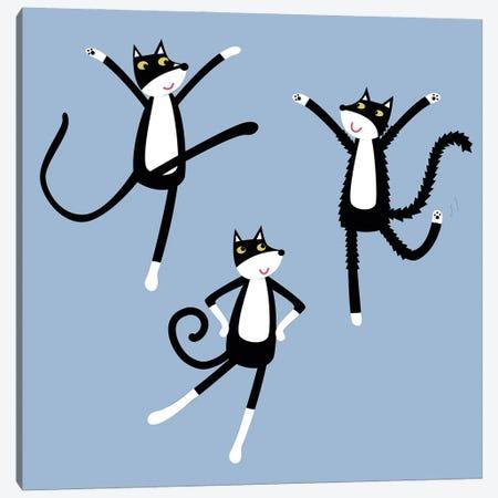 Dancing Tuxedo Cats Canvas Print #NSQ126} by Nic Squirrell Art Print