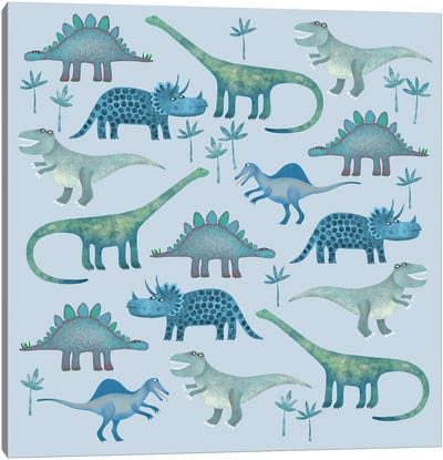 Dinosaurs Blue Canvas Art Print