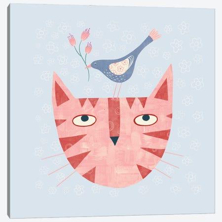 Cat Bird Flower Canvas Print #NSQ13} by Nic Squirrell Art Print
