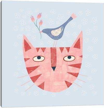 Cat Bird Flower Canvas Art Print