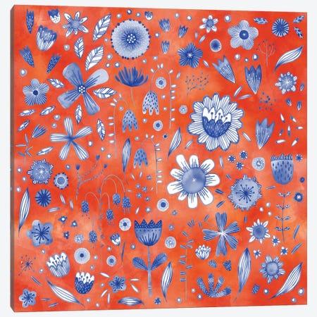 Indigo Coral Flowers Canvas Print #NSQ158} by Nic Squirrell Canvas Art Print