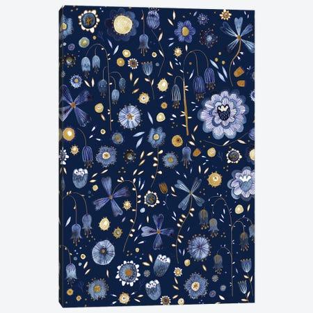 Indigo Flowers at Midnight Canvas Print #NSQ159} by Nic Squirrell Art Print