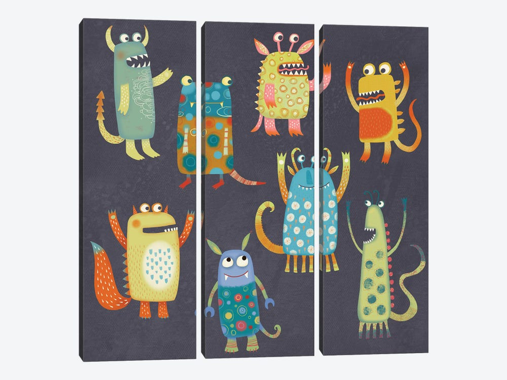 Monster Fun by Nic Squirrell 3-piece Canvas Artwork