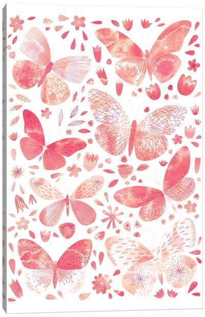 Coral Butterflies Canvas Art Print