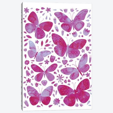Pink Butterflies Canvas Print #NSQ191} by Nic Squirrell Canvas Art Print