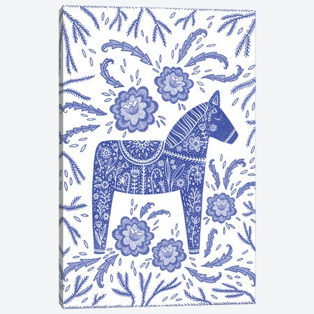 Swedish Blue Dala Horse Canvas Print #NSQ192} by Nic Squirrell Canvas Art Print