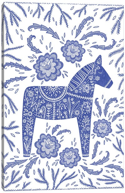 Swedish Blue Dala Horse Canvas Art Print