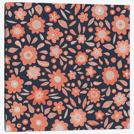 Orange Flowers In The Dark Canvas Print #NSQ199} by Nic Squirrell Canvas Art Print