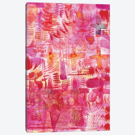 Pink Ink Watercolor Abstract Canvas Print #NSQ212} by Nic Squirrell Canvas Art