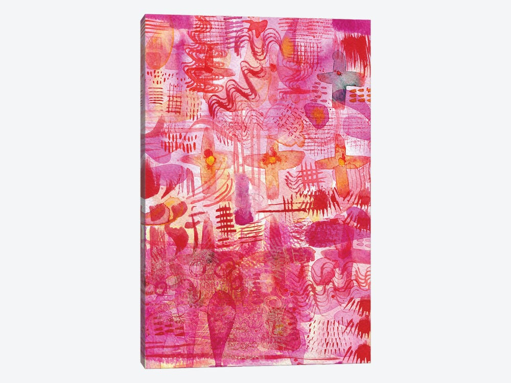 Pink Ink Watercolor Abstract by Nic Squirrell 1-piece Canvas Print