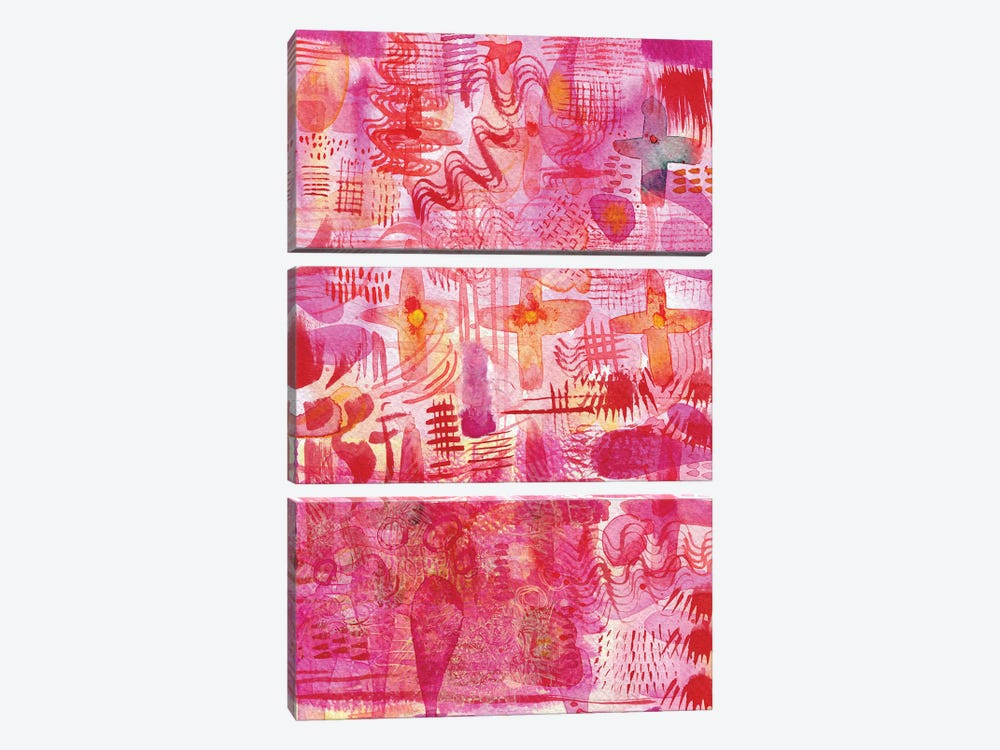 Pink Ink Watercolor Abstract by Nic Squirrell 3-piece Canvas Print