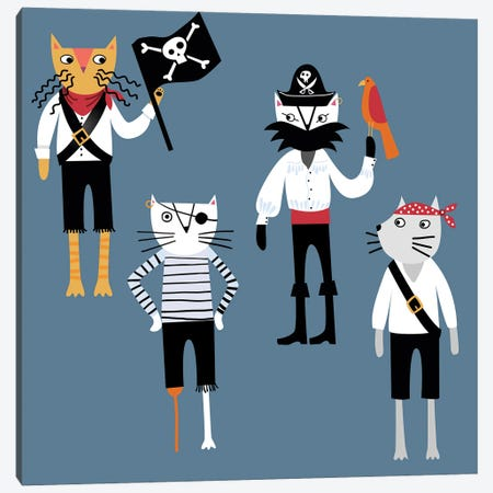 Pirate Cats Canvas Print #NSQ213} by Nic Squirrell Canvas Art