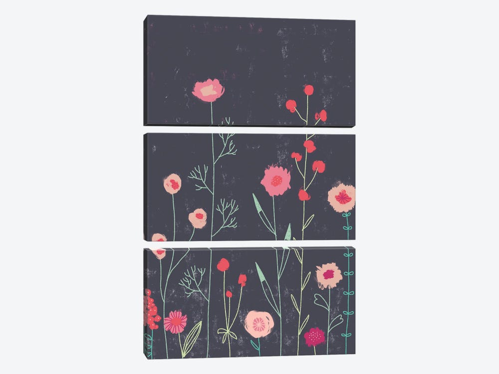 Plymouth Flowers Dark by Nic Squirrell 3-piece Canvas Art