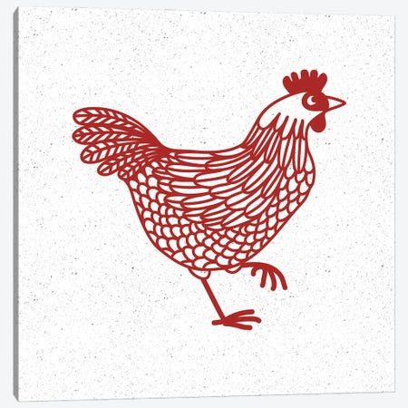 Red Hen Canvas Print #NSQ224} by Nic Squirrell Canvas Wall Art