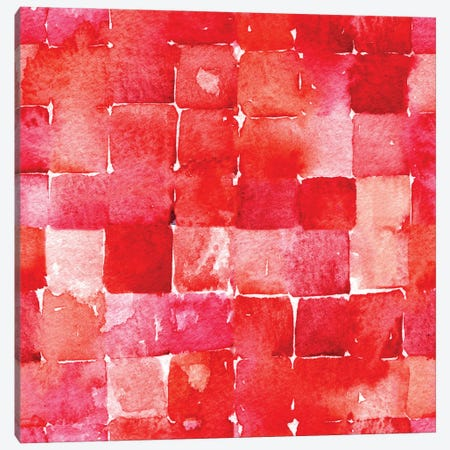 Red Watercolor Squares Canvas Print #NSQ228} by Nic Squirrell Canvas Art Print