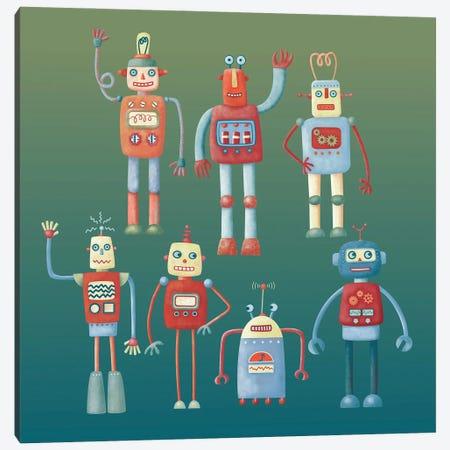 Retro Robots Canvas Print #NSQ232} by Nic Squirrell Canvas Artwork