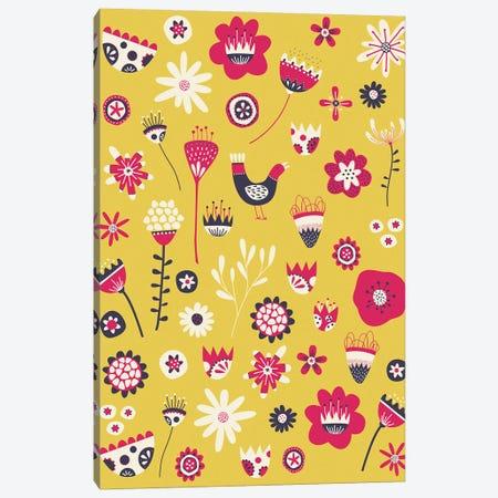 Spring Folk Floral Yellow Canvas Print #NSQ249} by Nic Squirrell Canvas Print
