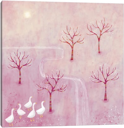Geese In The Orchard Canvas Art Print