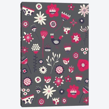 Spring Folk Floral Dark Canvas Print #NSQ251} by Nic Squirrell Canvas Wall Art
