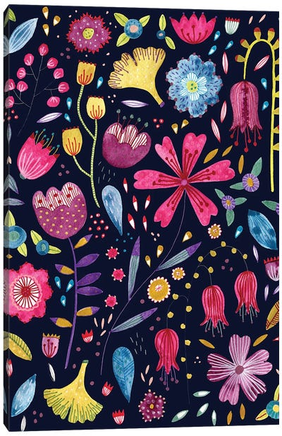 Autumn Hedgerow Dark Canvas Art Print