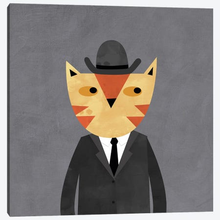 Ginger Cat In A Bowler Hat 3-Piece Canvas #NSQ26} by Nic Squirrell Canvas Art Print