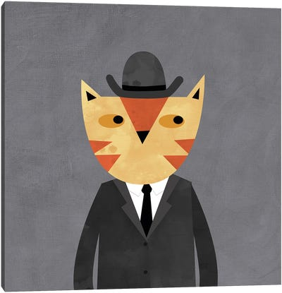 Ginger Cat In A Bowler Hat Canvas Art Print