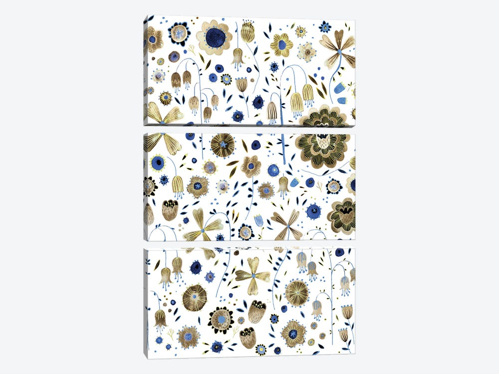 Golden Flower Garden by Nic Squirrell 3-piece Art Print