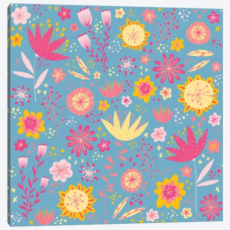 High Summer Flowers Teal Canvas Print #NSQ276} by Nic Squirrell Art Print