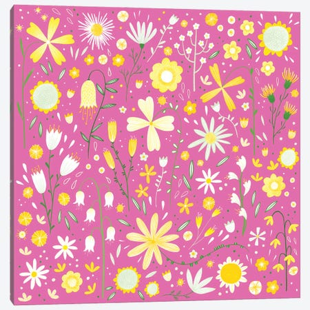 Fresh Flowers Pink Canvas Print #NSQ277} by Nic Squirrell Art Print