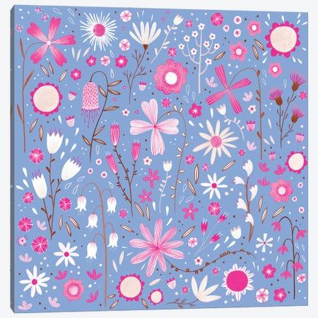 Fresh Flowers Blue Canvas Print #NSQ278} by Nic Squirrell Canvas Art