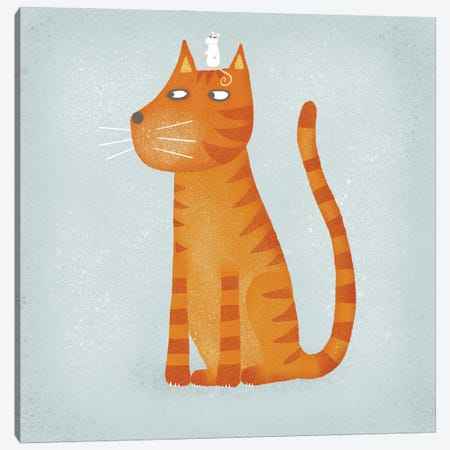 Ginger Cat With Mouse 3-Piece Canvas #NSQ27} by Nic Squirrell Canvas Print