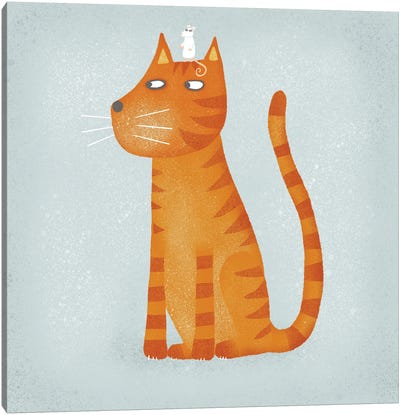 Ginger Cat With Mouse Canvas Art Print