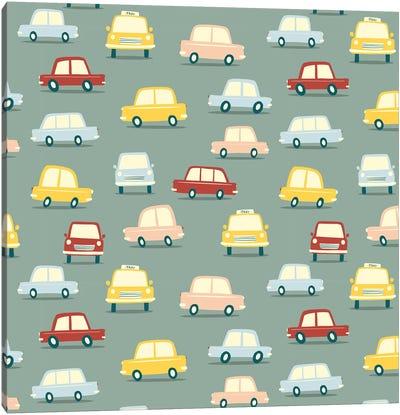 Vintage Car Traffic Jam Canvas Art Print