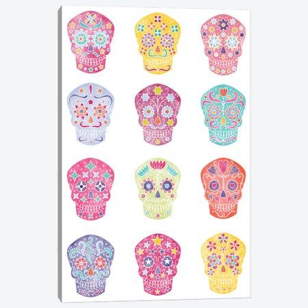 Watercolor Sugar Skulls Dia De Los Muertos Canvas Print #NSQ298} by Nic Squirrell Canvas Artwork