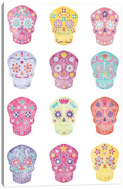 Watercolor Sugar Skulls Dia De Los Muertos Canvas Art Print