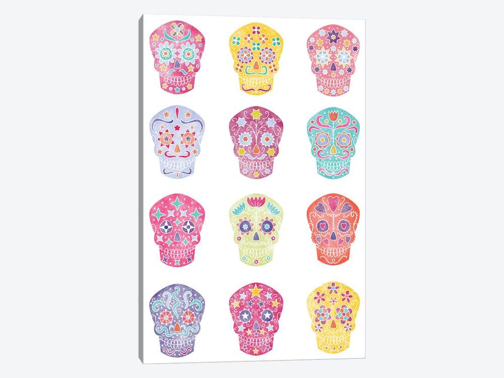 Watercolor Sugar Skulls Dia De Los Muertos by Nic Squirrell 1-piece Canvas Art Print
