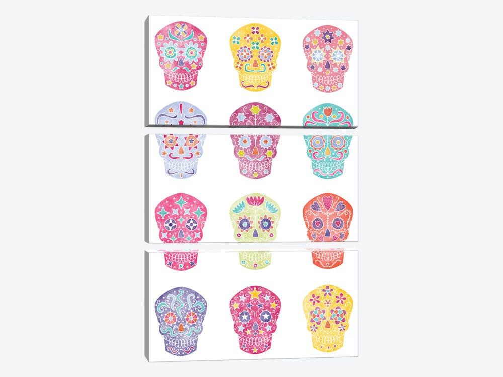 Watercolor Sugar Skulls Dia De Los Muertos by Nic Squirrell 3-piece Art Print